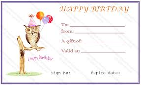 Owl Birthday Gift Certificate Template