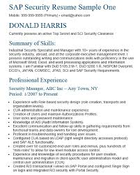Security Professional Resume Inspiration 48 Free Sample SAP Security Analyst Resumes Best Resumes 48