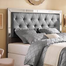 Silver queen/full size upholstered tufted mirrored headboard is handcrafted  for the ultimate in comfort