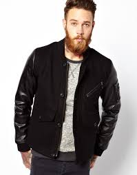 er jacket with leather look sleeves