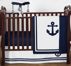sweet jojo navy blue nautical boat anchor perless baby boy crib bedding set
