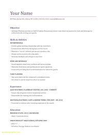 Waitress Resume Examples Unique Resume Templates For Servers Recent Waitress Resume Examples Where