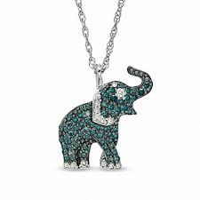 t w enhanced blue and white diamond elephant pendant in sterling silver