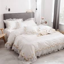 home textile 100 cotton white lace bedding set king queen twin size solid princess bed set girls korean duvet cover set bed skirt pillowcase pink duvet