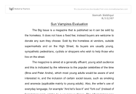 sun vampires evaluation gcse english marked by teachers com document image preview