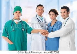 surgeon nurse doctors group surgeon and nurse on hospital background stock
