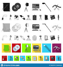 Design Attributes Making A Movie Flat Icons In Set Collection For Design