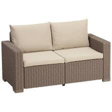 allibert by keter california 2 seater rattan sofa outdoor garden furniture cappuccino with sand cushions