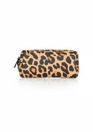 matt leopard print makeup bag