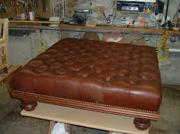 round leather tufted ottoman. Old And Vintage Brown Squre Tufted Leather Ottoman Coffe Table With Low Wooden Legs For Small Living Room Spaces Ideas Round D