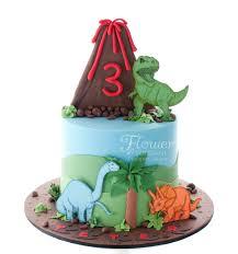 Volcano Dinosaur Birthday Cake Flower Fondant