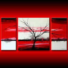 550 red white tree painting signed theo dapore original acrylic on canvas