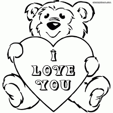 Bear With Heart Coloring Pages