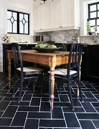 Black Floor Tiles With White Grout, Marble Subway Tiles, White Marble  Countertops, Farmhouse Table