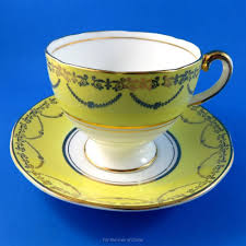 Decorative Cups And Saucers Striking Yellow and Gold Garland Salisbury Tea Cup and Saucer Set 41