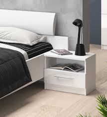 Nachtkonsole Nachtschrank Nachttisch 50cm Weiß Weiß Hochglanz Neu