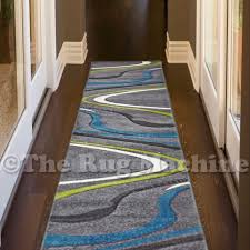 renee grey blue green swirls lines design modern rug runner 80x400cm new