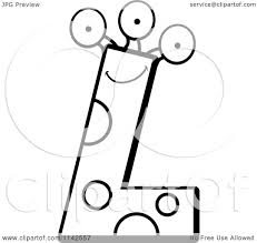 Cartoon Clipart Of A Black And White Alien Letter L Vector