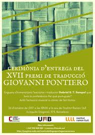 flyer translated in portuguese presentation of the 17th giovanni pontiero prize for the best