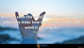 Who Has Seen The Wind Neither You Nor I But When The Trees