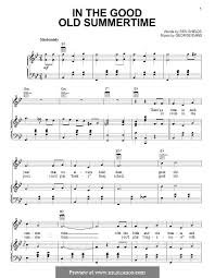 in the good old summer time for voice and piano or guitar by