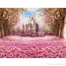 Cherry Blossom Backdrop 2019 Pink Flower Cherry Blossoms Backgrounds For Studio Petals Covered Road Trees Rainbow Photography Backdrops Children Kids Castle Backdrop From