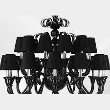 italian venetian chandelier shown in black murano glass with twisted and straight ribs using rigamena technique