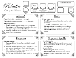 A Paladin Oota Quick Reference I Made For A New Player Who