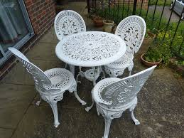 white iron outdoor furniture. White Cast Iron Garden Furniture Set Table And 4 Chairs Two Chair Patio Outdoor L