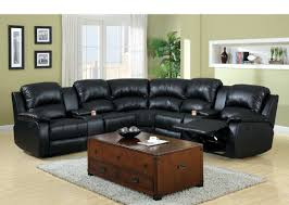 black leather reclining sofa. Amazon.com: 3 Pc Wolcott Contemporary Black Bonded Leather Reclining Sectional Sofa Set With Center Drink Consoles: Kitchen \u0026 Dining R