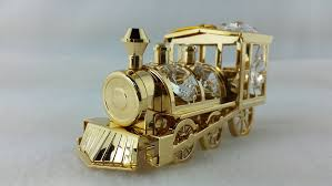 24 k gold plated lootive train ornament
