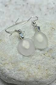custom pair of genuine surf tumbled dangling frosted white sea glass earrings 1 set handmade 9t538lza3