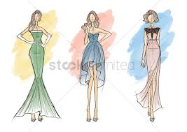 Collection Of Fashion Model Sketches Vector Image 2002991