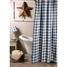 buffalo check shower curtain country colonial blue