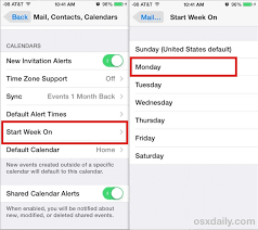 monday sunday calendar how to set the ios calendar to start on a monday instead of sunday