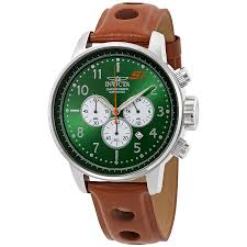 invicta s1 rally chronograph green dial brown leather men s watch 23108