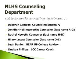NLHS Counseling Department Get to know the counseling department ppt  download