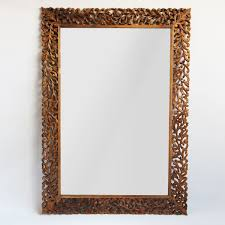 Mirror With Wood Frame Design Hand Carved Teak Wood Mirror Frame With Organic Leaf D