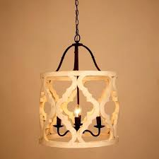 4 light wood chandelier antique white carved lantern candle style