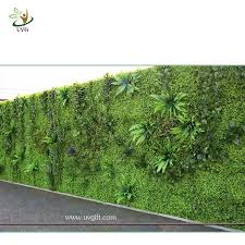 UVG green leaf artificial grass wall with high imitation plants for