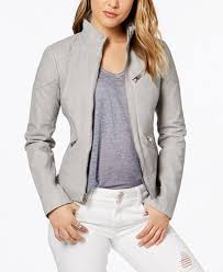 GUESS Faux-Leather Quilted Moto Jacket - Coats - Women - Macy's & GUESS Faux-Leather Quilted Moto Jacket Adamdwight.com