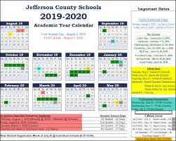 2019 2020 Jefferson County Schools Calendar Includes Full