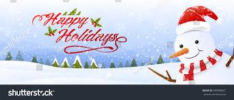 Holidays Snowman Happy Holidays Snowmansnowfall Landscape Background Vector Stock