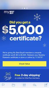 Best Buy Sending 5 To 5 000 Reward Certificates For Best Buy