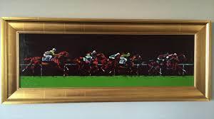 original leroy neiman oil painting turf tete leroy neimanhorse racingoriginal