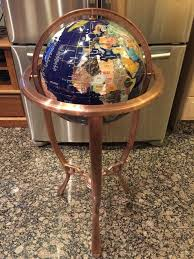 36 tall blue lapis gemstone world globe with tripod copper bronze floor stand contemporaryelegant