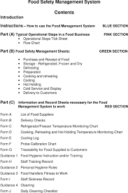 Food Monitoring Chart Food Safety Management System For Pdf Free Download