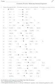 chem balancing chemical equations practice worksheet with answers 2 answer key part