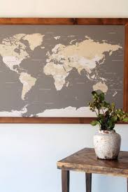 World Map World Map Wall Art Husband Gift 1st Anniversary Gift