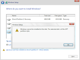 cant install windows 10 because of gpt
